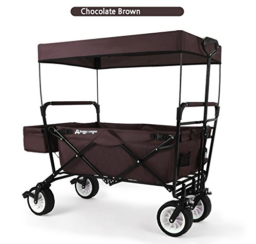 EverydaySports-NEW-GENERATION-Collapsible-Folding-Wagon-with-Canopy-and-Kids-Seat-Belt-Utility-Outdoor-Beach-Camping-Cart-Brown