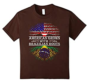 Kids American Grown With Brazilian Roots Proud T-Shirt For Women  6 Brown