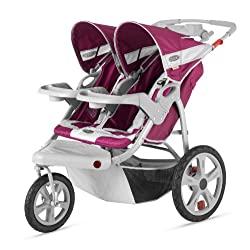 InStep Safari Double Swivel Stroller Wine/Gray