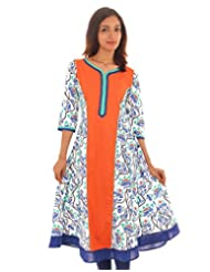 Cotton Printed Orange Anarkali With Lace Work