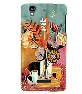 Omnam Flower Vask Printed Designer Back Cover Case For Micromax Yureka