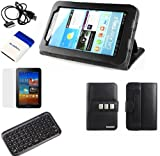 GTMax Folio Leather Cover Case with Built-in Stand + LCD Screen Protector + Bluetooth Wireless Mini Keyboard + Samsung Tablet USB Cable + Mini Brush for Samsung Galaxy Tab 2 7-inch P3100 P3110 Android Touchscreen Tablet