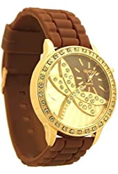 Geneva Rhinestones Accent Analog Watch for Women brown and rose gold tone - 4