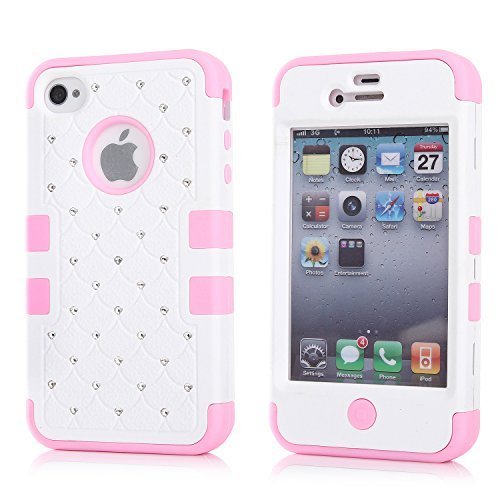iPhone 4S Case, KAMII 3 Layers Verge Hybrid Soft Silicone Hard Plastic Triple Quakeproof Drop Resistance Protective Case Cover for Apple iPhone 4/4S (White Pink) (Iphone 4s Back Glass Marvel compare prices)