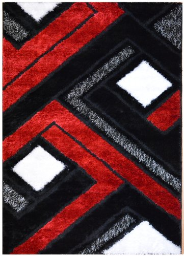 Royal Collection Black Red and White Contemporary Abstract Geometric Design Shaggy Shag Area Rug [Also Available In Different Sizes] (6013) (4'11