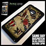 Generic Cover for HTC One M7 Tattoo Retro Pattern Floral Vintage Phone Case 5044 - Black
