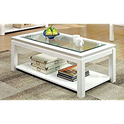 Furniture of America Kappa Contemporary Glass Top Coffee Table, White