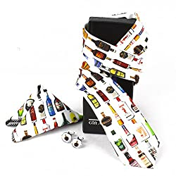 Giftacrossindia Digital Bottle Collection Print Tie, Cufflinks and Handkerchief of Quality Fabric for Mens.