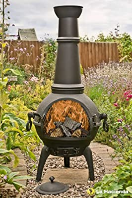 Black 125cm Cast Iron Chiminea Chimenea Patio Heater