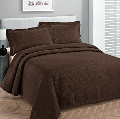 Cheapest Price! Fancy Collection 3pc Luxury Bedspread Coverlet Embossed Bed Cover Solid Coffee/brown...