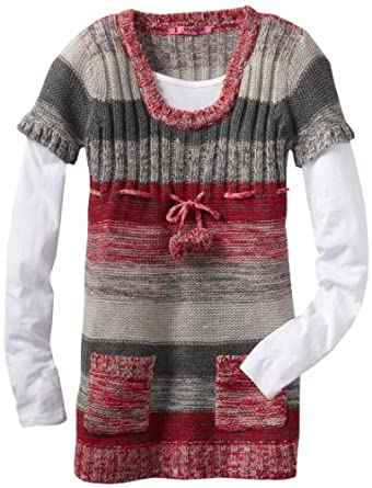 Energie Big Girls' Roma Scoop Neck Sweater, Pink Combo, Small