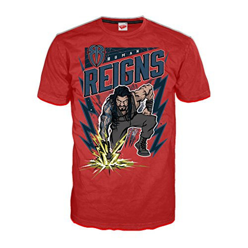 WWE Roman Reigns Comic Splash Official Men's T-Shirt (Red) (XX-Large)