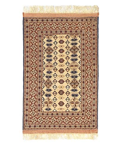 """Hand-Knotted Finest Mouri Silk Rug, Brown, 3' 7"""" x 5' 9"""""""