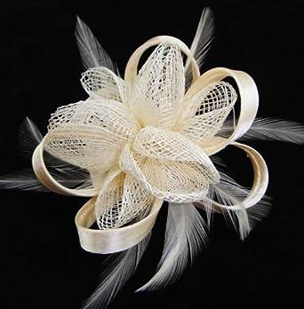 Elfenbein Fascinator Bänder Federn Mesh Ascot Haare Stück