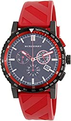 Burberry The City Chronograph Black Dial Red Rubber Mens Watch BU9805