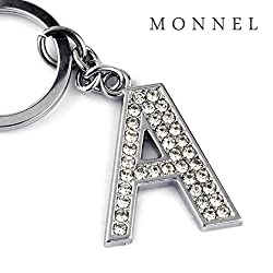 Z284 Bling Crystal Alphabet Initial DIY Letter a Keychain Key Ring for Pet Dog Cat Collar from monnelF