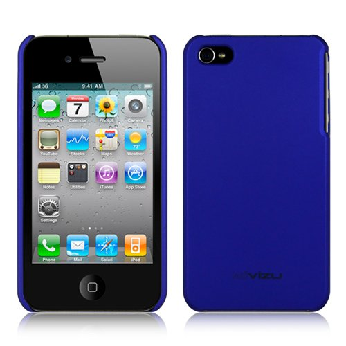 (Many Color Options) Verizon iPhone 4 CMDA case hard rubber crystal skin cover for iPhone 4G / 4th Generation compatible with 16GB / 32GB + front and back 4th gen screen protector