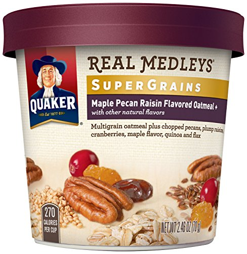 Quaker Real Medleys Super Grains Oatmeal+, Maple Pecan Raisin, Instant Oatmeal+ Breakfast Cereal, (Pack of 12) (Single Serve Steel Cut Oats compare prices)