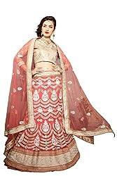 Manvaa Women Net Lehenga Choli(Peach_ASKLY60A_Free Size)