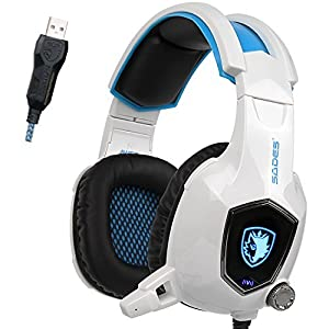 Sades PC Wired USB Gaming Headset Headphones with Microphone Bass Vibration Volume Control