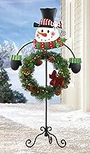 Snowman Holiday Wreath Garden Stake Holder