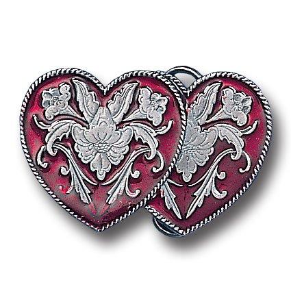 Pewter Belt Buckle - Western Double Heart Pewter Belt Buckle - Western Double Heart