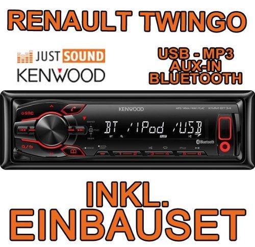 Renault twingo 1 avec kit d'encastrement pour autoradio kenwood kMM-bT34 autoradio cD/mP3/uSB encastré avec bluetooth
