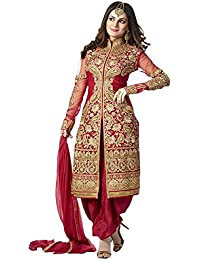 Texstile Women'S Georgette Straight Salwar Suit Set (&Red Shervani_Red_Free Size)