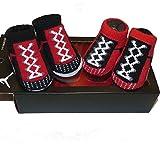 Boys Nike Air Jordan Red Black Gray Baby Newborn Booties Shoes 0-6m