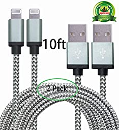 Abloom Nylon Braided USB Lightning Charging Cable, 10 Feet (2 Pieces) - Grey and Silver