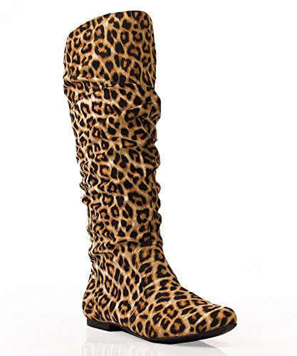 Women'S Classic Soft Slouchy Flat To Low Heel Knee High Boots,10 B(M) Us,Leopard Faux Suede-New