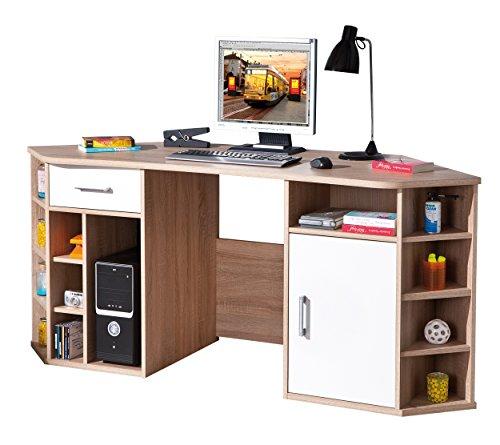 19200200 Schreibtisch Eckschreibtisch Büromöbel Bürotisch Arbeitstisch Büro Sonoma weiß