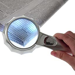 ABS Magnifier Glass 6 LED Light 4x Magnifying Handheld Glass Reading Map He