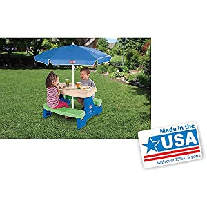 Picnic Table with Umbrella Kids Playing Set 4-Seats Plastic UV protection by MegaDeal
