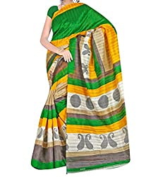 RGR Enterprice Woman's Bhagalpuri Designer Saree (Piludi print_Multi-Coloured_Free Size)