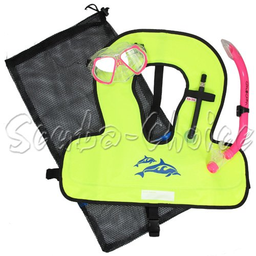 Kids Pink Snorkeling Set with Comocean Purged Mask, Snorkel, Snorkel Vest, Mesh Bag