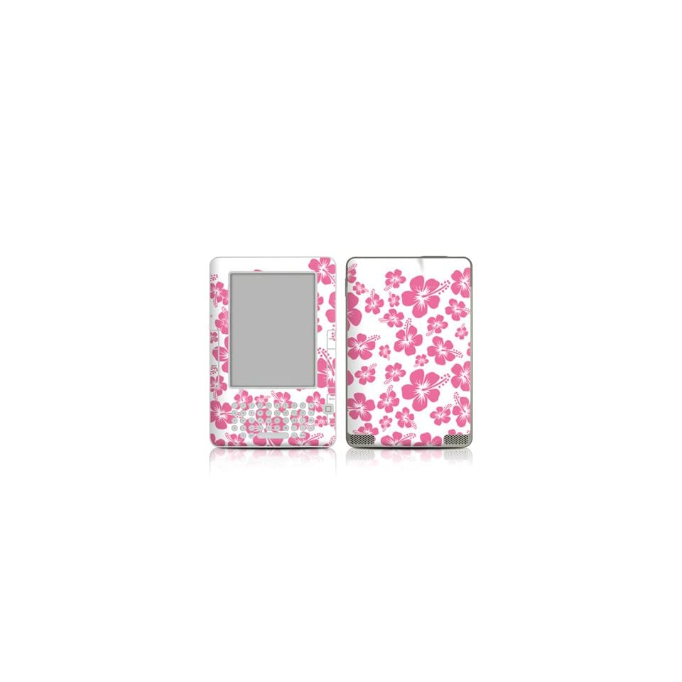 Pink Hibiscus Design Protective Decal Skin Sticker for  Kindle 2 E Book Reader (2nd Gen)