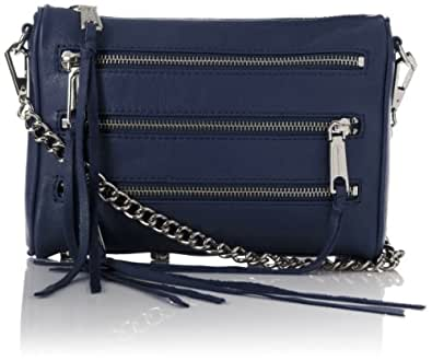 Rebecca Minkoff Mini 5-zip Cross Body Bag,Denim,One Size