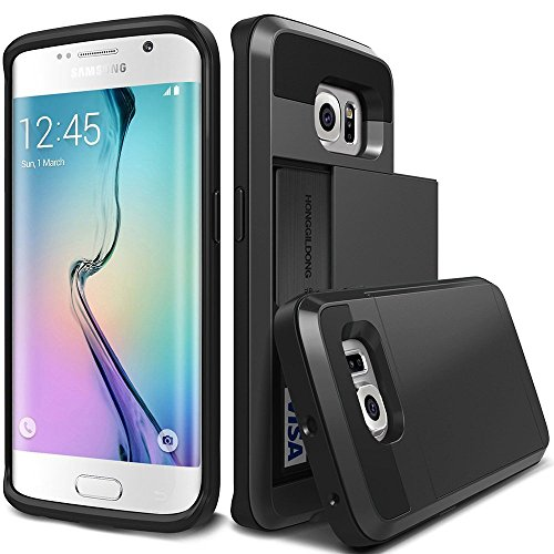 OnPrim Luxury Dual Layer PC TPU And Silicone Rubber Hybrid Card Carry Pocket Wallet Slot Protective Cell Phone Case For Samsung Galaxy S7 5.1 Inth Black