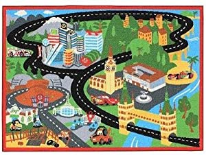 "Disney Pixar Cars 2 Racetrack Game Rug Cars2 31.5 x 44"" Includes 2 Cars & Road Signs by G.A. Gertmenian & Sons"
