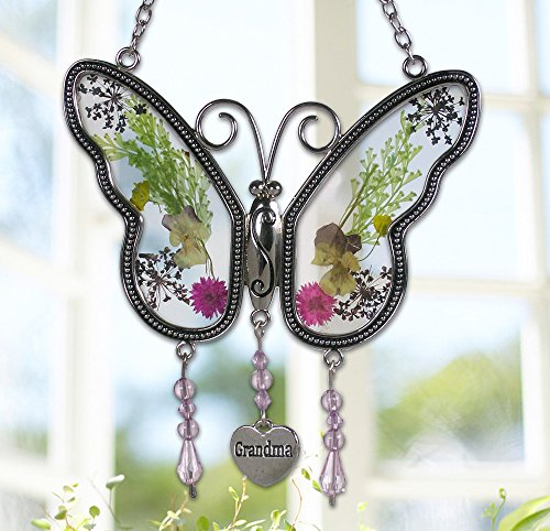 Grandma Butterfly Suncatcher with Pressed Flower Wings Embedded in Glass with Metal Trim - Grandma Heart Charm - Gifts for Grandma - Grandma Gifts