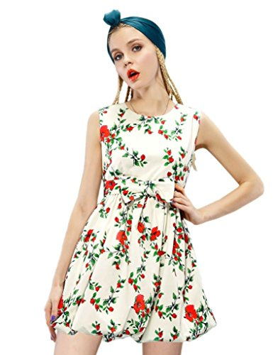 Elf Sack Womens Autumn Dress Round Neck Sleeveless Pastoral Printing Puff Hem Large Size