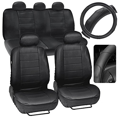 Motor Trend Black Synthetic Leather Car Seat Covers w/ GripDrive Stitched Cushion Grip Steering Wheel Cover (Car Seat Covers For Chevy Tahoe compare prices)