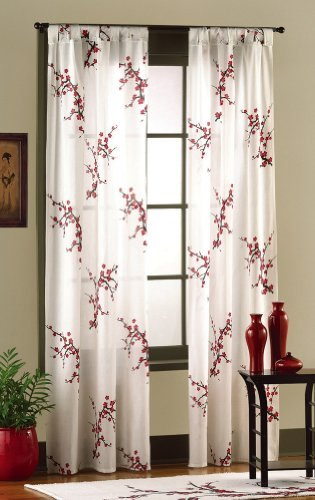 Asian Bedroom Cherry Blossom Curtain Panel Set By