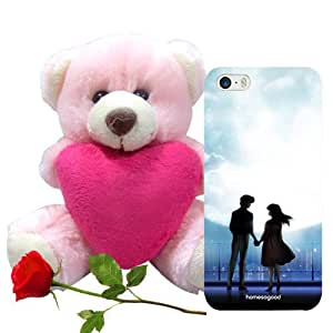 Homesogood The Love Of life Multicolor 3D Mobile Case For iPhone 5 / 5S (Back Cover) With Teddy & Red Rose