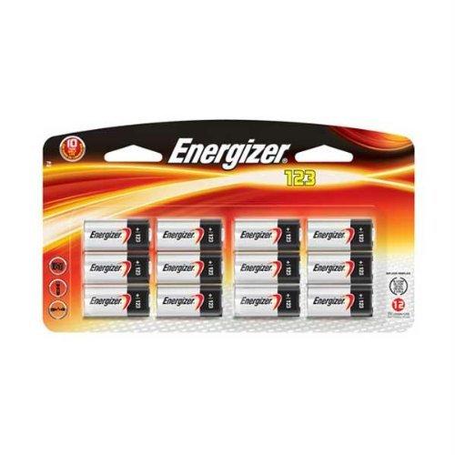 Energizer Ecr123Apbp-12 Photo Lithium 3V 12-Pack (Black/Red)