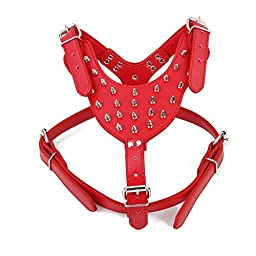 Puppy-league® Genuine Leather Bullet Nail Spiked Rivets Dog Harness 65-85cm Chest Girth, 42-65cm Neck Girth (Red)