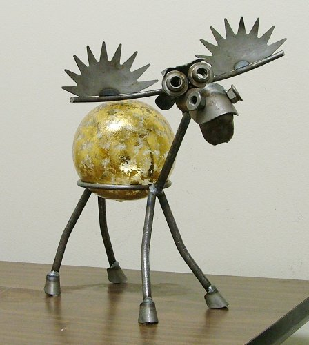 Moose Recycled Scrap Metal Gazing Globe Stand with Gold Leaf Glass Gazing Globe