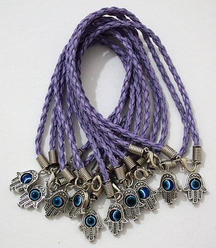 10 X Leather Hamsa Shamballa Friendship Bracelet Evil Eye Charm Hand Of Fatima Purple Silver Pendant