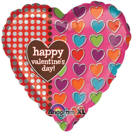 "Offset Hearts Happy Valentine's Day Heart Shaped 32"" Mylar Balloon"